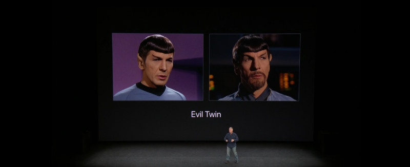 Spock graces Apple's presentation showcasing Face ID's major vulnerability: evil twins.